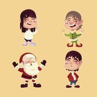 merry christmas santa elf boy and girl icons set vector
