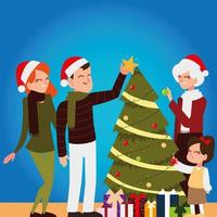 merry christmas family parents grandma and daughter with tree vector