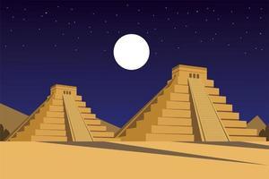 pirámides mexicanas civilización antigua azteca en la noche panorámica vector