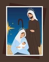 nativity with mary joseph night scene manger card vector