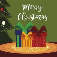 merry christmas gift boxes with tree and snow decoration card vector
