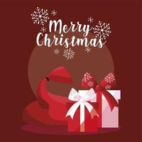 merry christmas handwritten text with gifts and bag vector