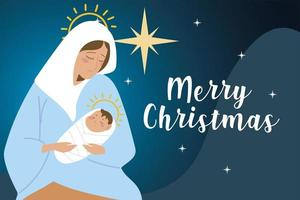 merry christmas holy mary and baby jesus bright star card vector