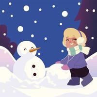 linda niña con bola de nieve haciendo muñeco de nieve en la escena de invierno vector