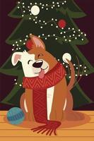 christmas dog with scarf and ball animal celebration isolated design vector