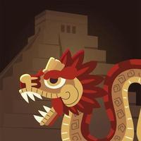 civilización azteca mexicana serpiente y pirámide tradicional vector