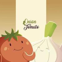 Verduras kawaii lindo estilo de dibujos animados de cebolla y tomate vector