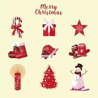 merry christmas icons collection candy hat star sock bell tree vector