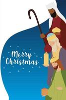 merry christmas three wise kings with gift greeting card vector