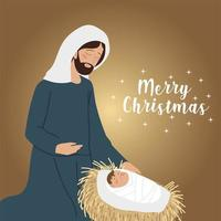 merry christmas joseph with baby jesus greeting card vector