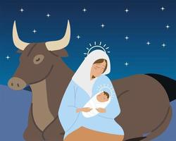 nativity mary with baby jesus and ox animals manger vector