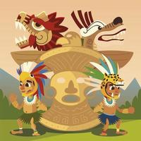 aztec warrior characters totem and snakes civilization ancient vector