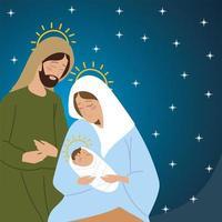 nativity joseph mary baby jesus manger and stars background vector