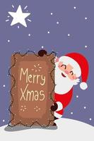 merry christmas santa with lettering and lights decoration vector