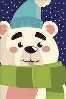 merry christmas bear with hat and scarf character portrait cartoon vector