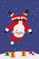merry christmas, tangled santa claus with lights in snow vector