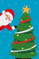 merry christmas santa and decorative tree celebration vector