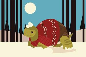 merry christmas cute turtle with scarf and sweater in the winter scene vector