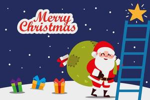 merry christmas santa with bag gifts and ladder vector