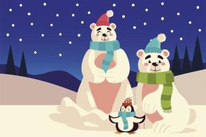 merry christmas polar bears with hat scarf and penguin snow panoramic vector