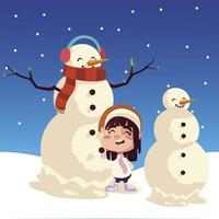 merry christmas cute girl with snowman in the snow landscape vector