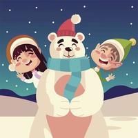 merry christmas cute girl and boy with polar bear in snow vector