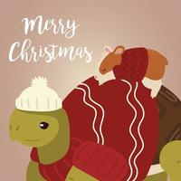 merry christmas greeting card with turtle hamster with sweater and hat vector