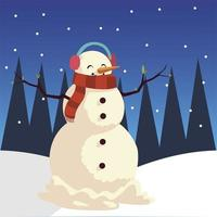 merry christmas snowman with scarf earmuffs in winter landscape vector