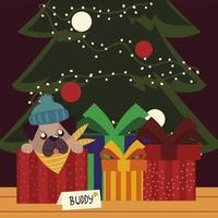 merry christmas puppy with hat in the box gifts and tree celebration vector