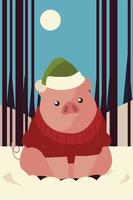 merry christmas cute pig with hat sweater in the snow vector