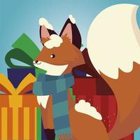 merry christmas cute fox with scarf snow and gift boxes vector
