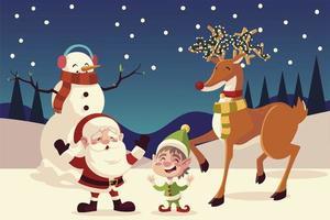 merry christmas santa elf reindeer snowman snowy landscape vector