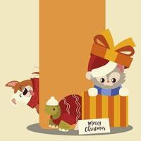 Feliz navidad gatito en caja de regalo con dibujos animados de tortugas y perros vector