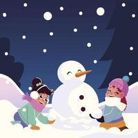 lindas niñas con muñeco de nieve jugando nieve que cae vector