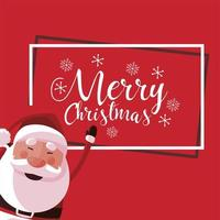 merry christmas cute santa claus lettering red background vector