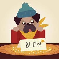 merry christmas cute dog in box with lettering vector