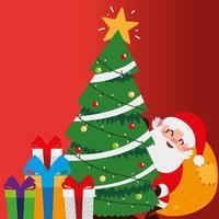 merry christmas santa with tree bag and gifts celebration decoration vector