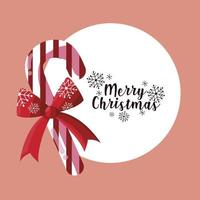 merry christmas candy cane with bow lettering card vector