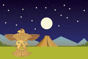 aztec ornament golden mask and pyramid night landscaping vector