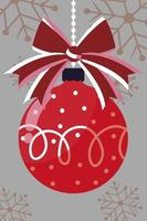 merry christmas, hanging red ball bow snowflakes decoration vector