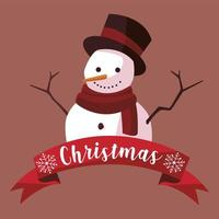 merry christmas cartoon snowman with hat greeting card vector