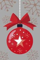 merry christmas, hanging red ball star snowflakes decoration vector