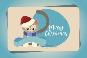 feliz navidad lindo gatito con bufanda tarjeta pegatina vector