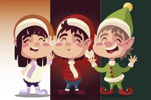 merry christmas cute helper girl and boy with winter hat cartoon vector