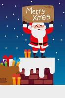 merry christmas santa with lettering and gifts in chimney celebration vector