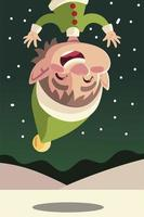 merry christmas, funny helper cartoon snow landscape vector