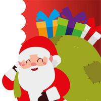 merry christmas, santa with gifts in bag celebration decoration vector