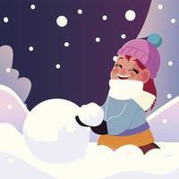 niña sonriente con bola de nieve en invierno vector
