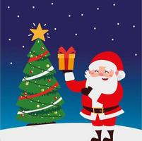 merry christmas cute santa with gift box and tree in snow decoration vector