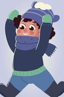 niño con ropa de invierno manos arriba personaje vector